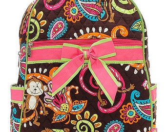 Monkey Print Quilted Monogrammed Backpack Hot Pink Trim