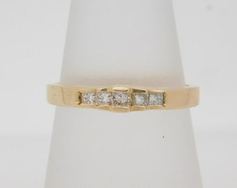 0.27 Carat T.W. Princess Cut Diamond Band 14K Yellow Gold Ring