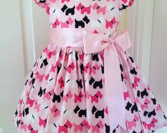 Pretty girls party dress, pink Scottie dogs, and cotton fully lined