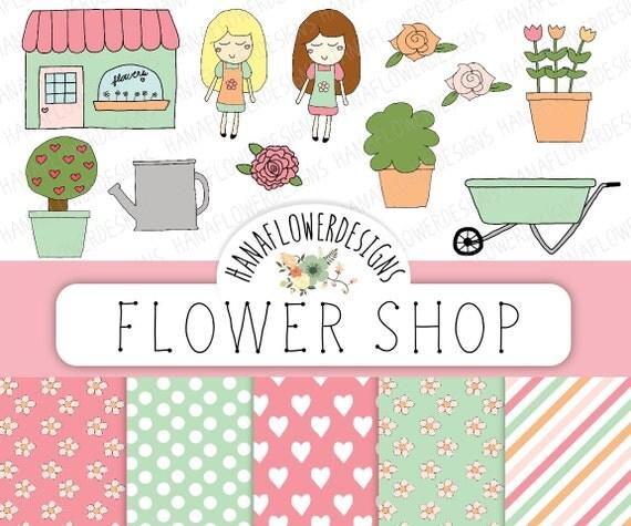 Flower shop clip art: Flower digital paper by ...