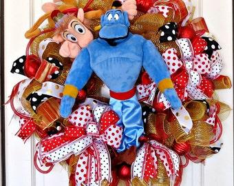 Genie and Abu in Fez Hat Wreath, Genie themed decor, Genie mesh wreath