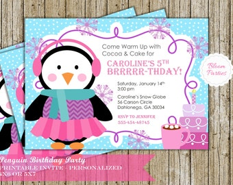 Penguin Birthday Invitation Girl Winter Onederland Party Cocoa and Cake Digital Printable Personalized