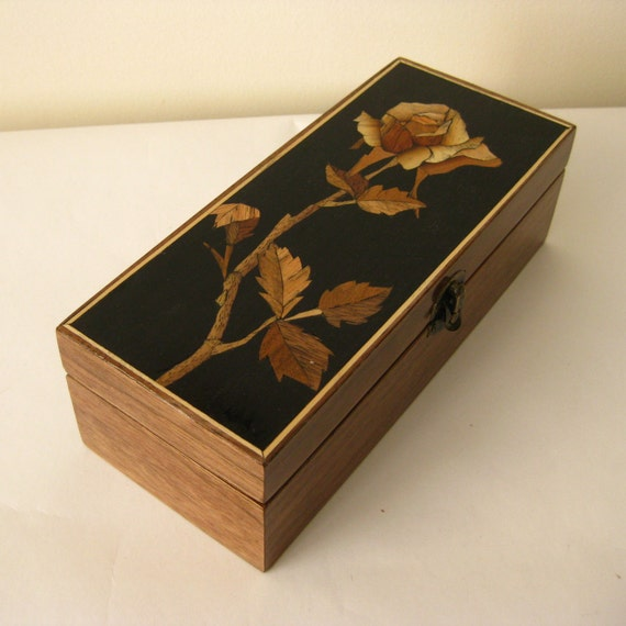 Wooden Jewelry Box - Bloom Of A Rose -  Handmade - Jewelry Box - Inlay - Marquetry