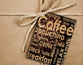 8 Coffee Gift Tags, Coffee Cappuccino Typography Handmade Thank You Tags, 2.5 x 3.5 Hang Tag, Product Tag,  Cafe Style With Twine, SR3