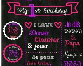 chalkboard first birthday girl. Digital file.