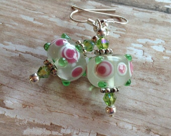 Lampwork Beaded Earrings, Lampwork Earrings,  Pink and Green Earrings, Gift For Her, Dangle Earrings, Glass Earrings