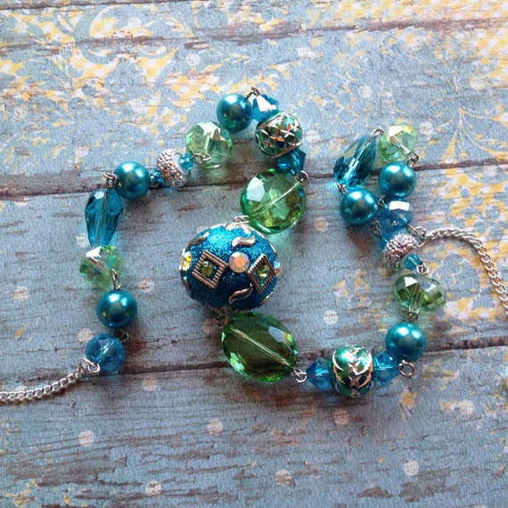 blue and green necklace glass beaded necklace by