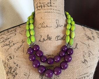 Tagua Statement Necklace, Purple Necklace, Chartreuse Necklace, Bombona Necklace, Seed Jewelry, Seed Necklace