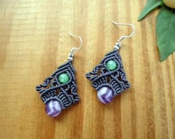 Amethyst macrame earrings, macrame jewelry, aventurine earrings, micro macrame, gemstone earrings, elven jewelry, fairy earrings