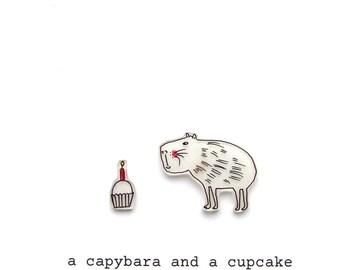 a capybara and a cupcake card - birthday card - celebration card - capybara card - animal card - capybara - handmade card