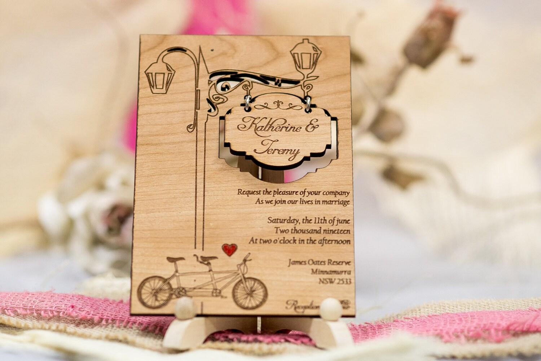 Laser Cut Wood Wedding Invitations: Set Of 40 Tandem Wedding Invitations Wood Wedding Invitation