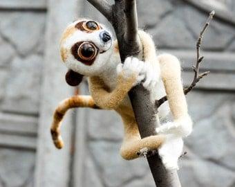 Needle felted Lemur toy, Needle felted Monkey