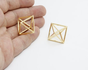 1 Pcs 20mm Gold Plated Open Cube Necklace, Open Cube , MTE185