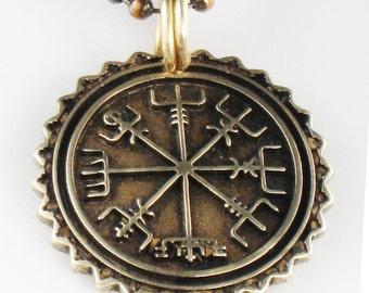Nordic Viking Vegvisir Nautical Compass - Bronze - Necklace - Pendant - Keyring - Viking Vegvisir Protection Compass Pendant Key Ring Gift