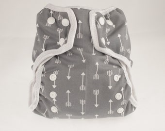 AI2 Size Small cloth diaper for prefolds or inserts - Gray Arrow