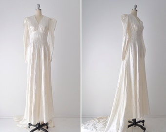 Connie wedding dress • vintage 1940s satin embroidered gown • rayon 40s ivory  wedding dress with train