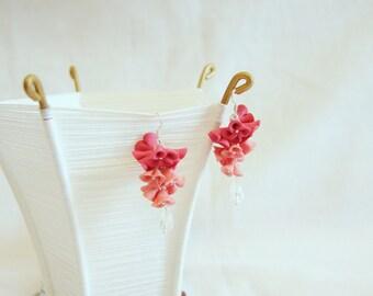 Pink flower earrings handmade flowers handmade earrings