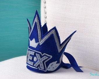 Boy First Birthday Crown, Felt Party Hat, Birthday Crown Boy, Birthday Crown, 1st Birthday Boy, Silver Birthday Crown, Baby Birthday Crown