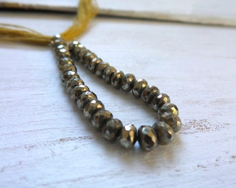 Pyrite Faceted Rondelles, Pyrite Gemstone, Pyrite Rondelle Beads, Bronze Gemstone, Fools Gold, Rondelle Gemstone, 33 Stones