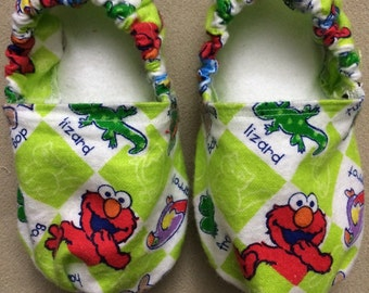 Elmo baby booties, shoes, crib shoes, soft, sesame street, slippers, infant, 1st 2nd birthday, smash cake