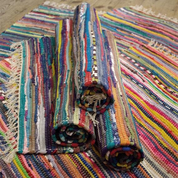 Fab Hand Made Stripy Rainbow Colour COTTON Rag Rug Recycled