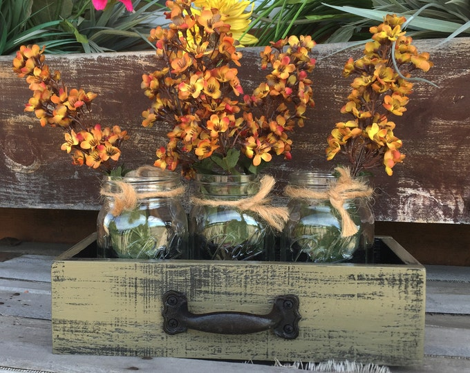 MASON Jar Centerpiece DRAWER Reclaimed Distressed Wood Towel Organizer Box Ball with 3 Canning Jars Crate Caddy Handle Green Red Blue Teal
