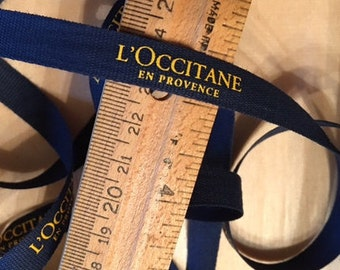 L'Occitane Store Ribbon Closeout Navy Blue and Yellow