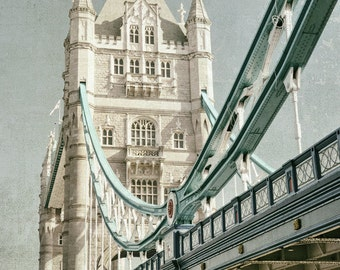 London Photography, Tower Bridge, London Bridge, Fine Art Print, London Decor, Travel Photo, blue, cream, Wall Art, Home Decor