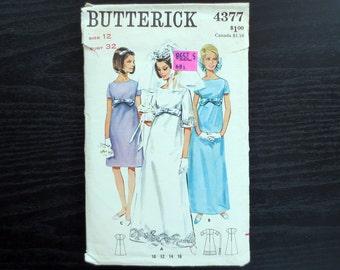 1960s Bridal Gown & Bridesmaid Dress Vintage Pattern, Butterick 4377, Size 12, Bust 32