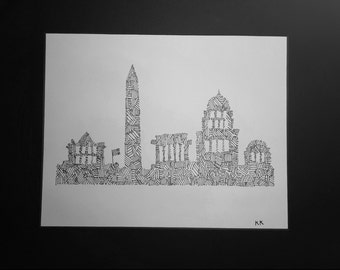 Black and White DC Monuments Print
