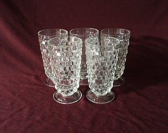 Vintage Footed Tumblers | Whitehall | Clear Cubist | Set of Six | 12 oz