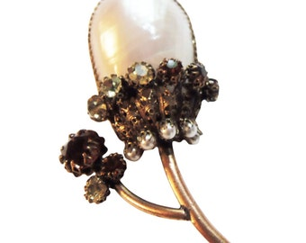 Exquisite Countess Cissy Zoltowkda Brooch/Pin with Osmena Pearl