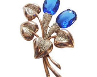 Retro Sterling Blue Flower Brooch/Pin Vintage 1940 Flower Pin Rhinestone Pin Art Deco Jewelry