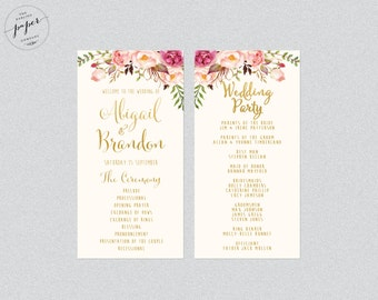 Wedding Program Order Of Service Printable Wedding Rustic Wedding Printable Program Floral Wedding Program Peonies Collection Gold Foiled