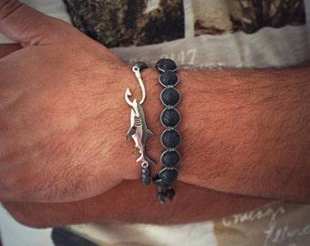 Mens Bracelet, Layered Bracelets, Stackable Bracelet, Black Friday Deal 925 Silver Shark Bracelet, Pulsera, Armband