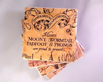 The Marauder's Map Tile Coasters. Harry Potter Inspired. Felt Backed, Set of Four, Finished with Twine Bow.