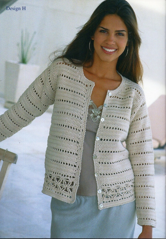 Crochet Patterns For Women s Cardigans : womens crochet cardigan crochet pattern lacy crochet jacket v