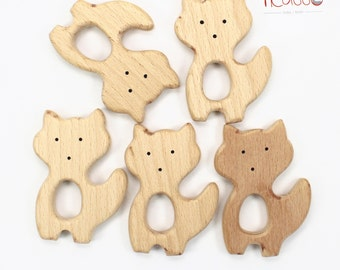 Toy teether FOX natural wood, untreated, baby gift, wooden rattle, shower gift, baby toy, baby teething toy, baby teether, eco-friendly toy