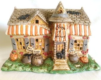 """SALE!! Haunted """"Shoppe of Horrors"""" Creepy Hollow Porcelain Village Collection, Awesome Vintage Halloween Decor"""