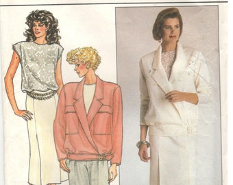 Butterick 3698 Size 8, 10, 12.  Women's jacket, top, pleated pencil skirt and pants. Sleeveless top with elastic waist, Formal / office wear