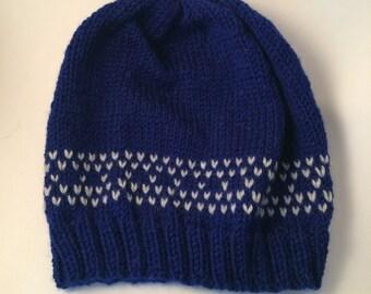 Blue Beanie - Adult Knit Hat