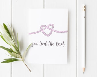 Congratulations Wedding Card, You Tied The Knot Card, Congratulations Happy Couple, New Married Couple Greeting Card, Tied The Knot Wedding