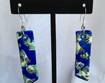 Blue Mosaic Beeswax Clay Dangle Earrings C167-907