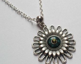 Large Flower Necklace , Silver Necklace , Enamel Necklace , Diamante Necklace , Blue Necklace , Teal Necklace , Flower Power , Summer