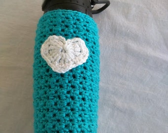 Crochet Water Bottle Cozy with Heart