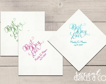 Best Day Ever We decided on Forever Custom Wedding Napkins • Weddings - Bridal Showers - Engagement Parties - Letterpress Foil