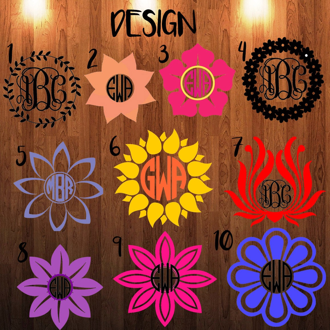 Shop Floral Monograms At Littlebrownnest Etsy Com: Flower Monogram Decal Monogram Sticker Circle Monogram