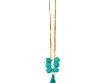 Turquoise Tassel Necklace, Turquoise And Gold Necklace, Long Turquoise Necklace, Turquoise Pendant Necklace, Long Tassel Necklace, Tassel