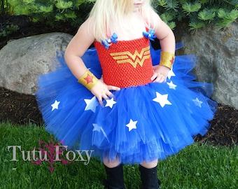 Wonder Woman Inspired Tutu Dress, Wonder Woman inspired Costume, Super hero Tutu Dress, Super Hero Tutu, Super Hero Costume girls