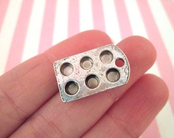 Miniature Muffin Tray Pan Charms, Silver Plated, #DH87